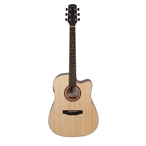 LEFFT HAND Martinez 'Natural Series' Spruce Top Acoustic-Electric Dreadnought Cutaway Guitar (Open Pore)