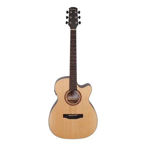 Martinez 'Natural Series' Spruce Top Acoustic-Electric Small Body Cutaway Guitar (Open Pore) - Musiclandshop