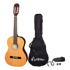 Martinez 'Slim Jim' 3/4 Size Beginner Slim Neck Classical Guitar Pack with Built-In Pickup & Tuner (NATURAL GLOSS) - Musiclandshop