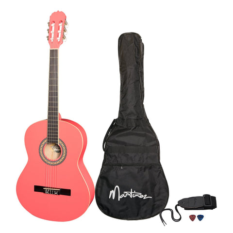 Martinez 'Slim Jim' Full Size Beginner Slim Neck Classical Guitar Pack with Built-In Tuner (Hot Pink) - Musiclandshop