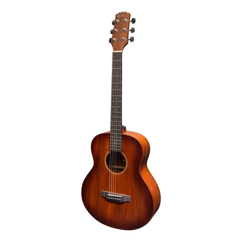 Martinez 'Southern Star' Series Mahogany Solid Top Acoustic-Electric TS-Mini Guitar (Satin Sunburst) - Musiclandshop