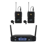 SoundArt SPLL-20-2BP Dual-Channel UHF Wireless Belt Pack System With Two Lapel and Headset Microphones - Musiclandshop