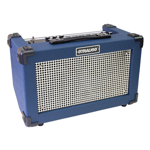 Strauss SBA-20FX 'Streetbox' 20 Watt Solid State Rechargeable DC Amplifier (Blue)