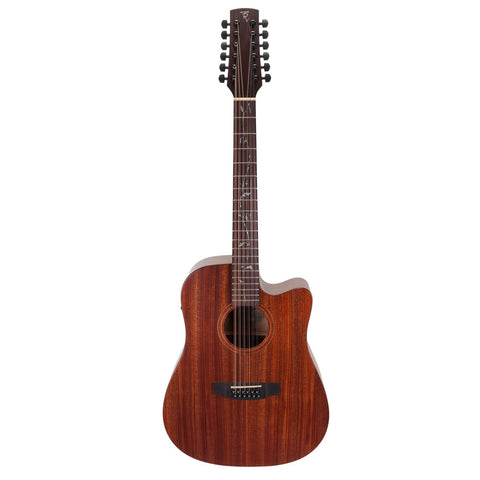 Timberidge 'Messenger Series' 12-String Mahogany Solid Top Acoustic-Electric Dreadnought Cutaway Guitar with 'Tree of Life' Inlay (Natural Satin) - Musiclandshop