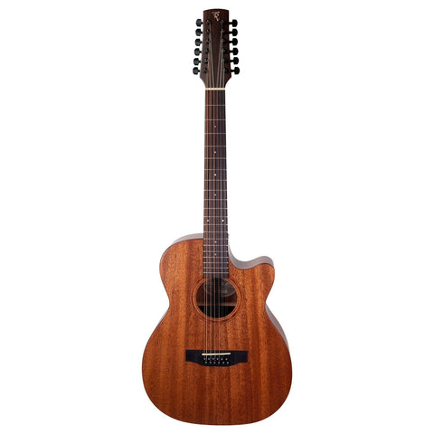 Timberidge 'Messenger Series' 12-String Mahogany Solid Top Acoustic-Electric Small Body Cutaway Guitar (Natural Satin) - Musiclandshop