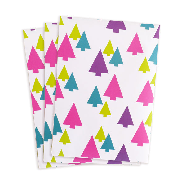 festive trees gift wrap sheets 3pk