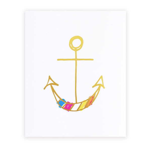 happy anchor art print