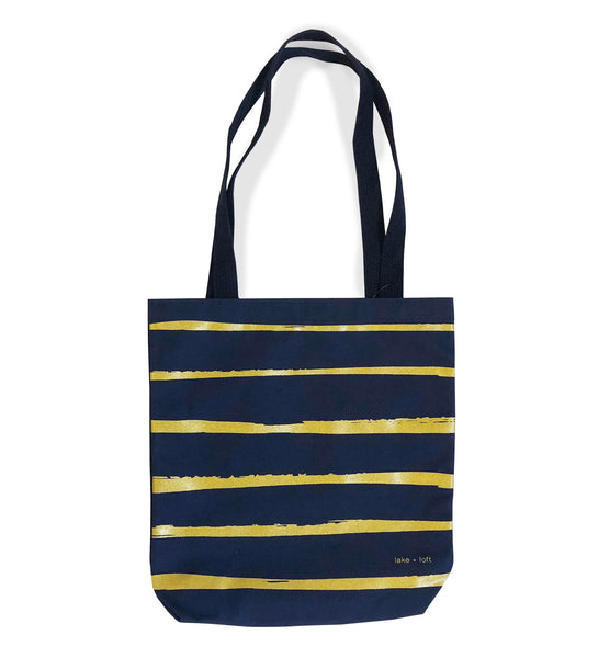 navy paint stripe tote