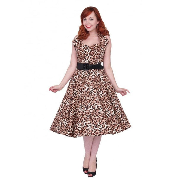 1950s Halterneck Leopard Brown Swing Dress