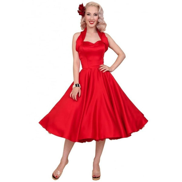 1950s Halterneck Red Duchess Swing Dress