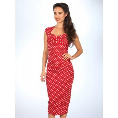 Love Amore Wiggle Dress - Red Polka Dot- Vicious Venus