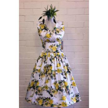 Grace Yellow Floral Swing Dress - Vicious Venus