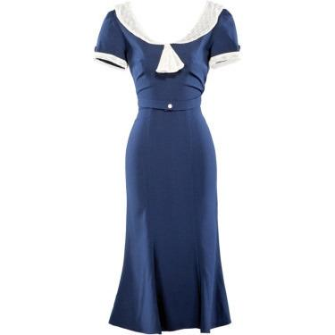 Raileen Navy Wiggle Dress - Vicious Venus