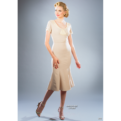 Raileen Wiggle Dress in Light Ivory - Vicious Venus
