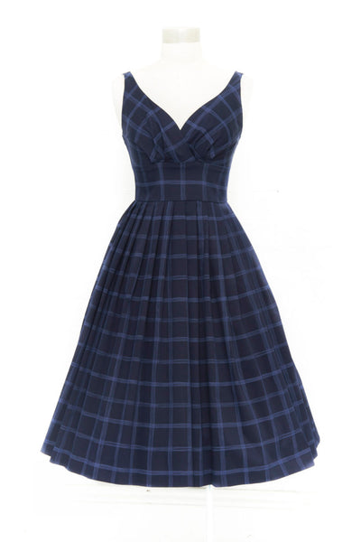 Elizabeth NAVY CHECK Swing Dress