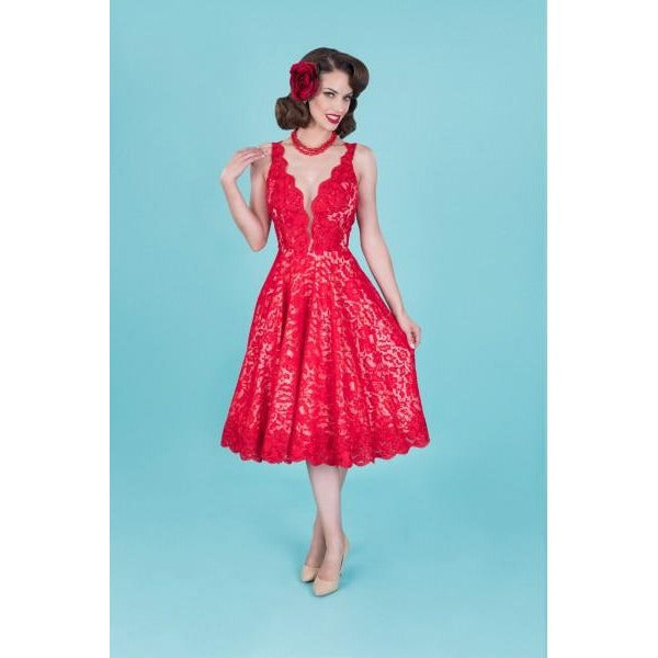 ESTELLA Flared Red LACE DRESS