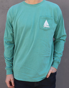 Long Sleeve Sailboat Tee - Sea Foam