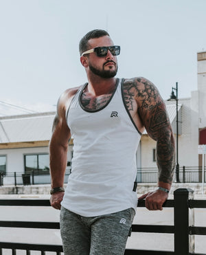 Rival Stringer Tank in White | Fitness & Performance | RIVAL
