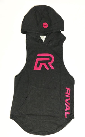 Ladies Muscle Cut-off Hoodie - Black w/Pink logo (Med&Lrg Left)