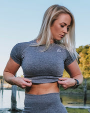 Rival Sport Seamless Crop Top - Grey