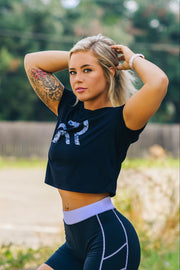 Ladies Camo Cropped Tee - White