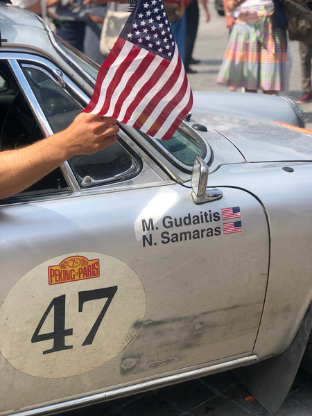 Nico Samaras and Mark Gudaitis finish the Peking to Paris rally in 2019