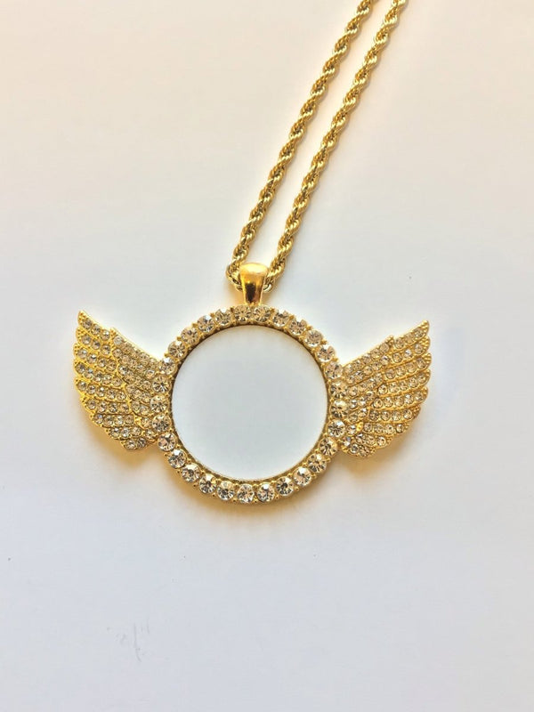 Sublimation ANGEL WINGS Necklace with crystal - Inkfinitee Sublimation
