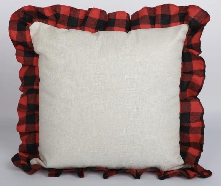 Sublimation Pillowcase Plaid Ruffles Polyester LINEN - Inkfinitee Sublimation