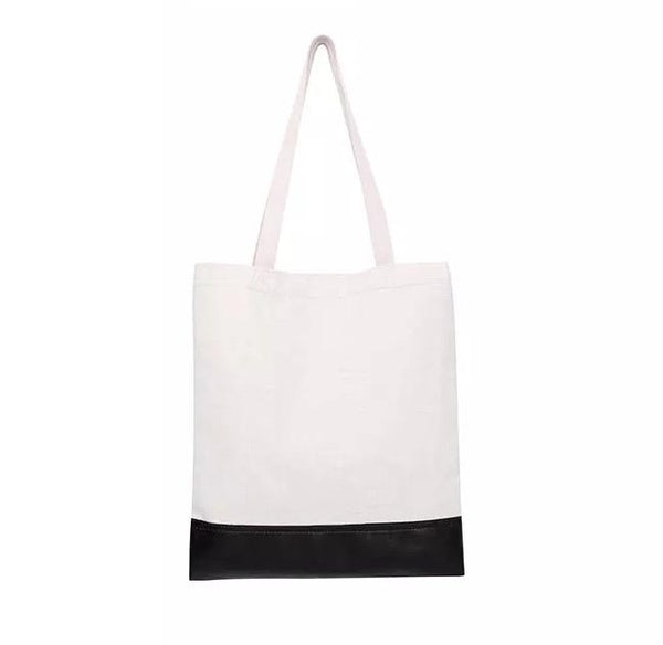 Sublimation Tote Bag PU Leather + Linen BLACK - Inkfinitee Sublimation
