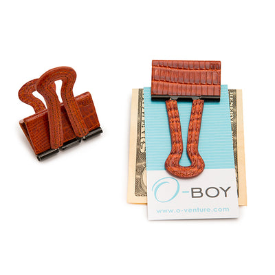 cognac lizard, embossed leather, o-boy money clip, o-venture
