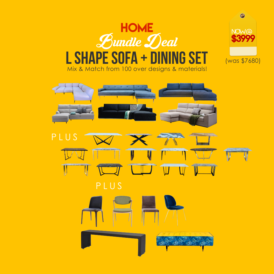 Home Bundle Deal (L Shape Sofa + Dining Set)