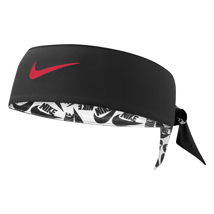 Nike Dri-Fit Head Tie/Headband (Black/Red Swoosh)