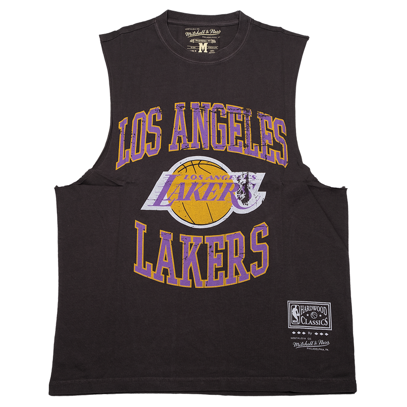 Vintage Crest Logo Muscle Tee - LA Lakers (Faded Black)