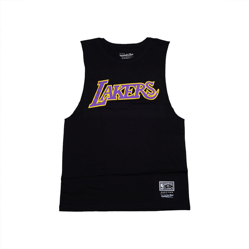 Retro Repeat Muscle Tee Black - Los Angeles Lakers
