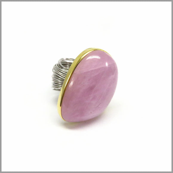 AD1.15 Kunzite, Silver & Gold Plated Ring