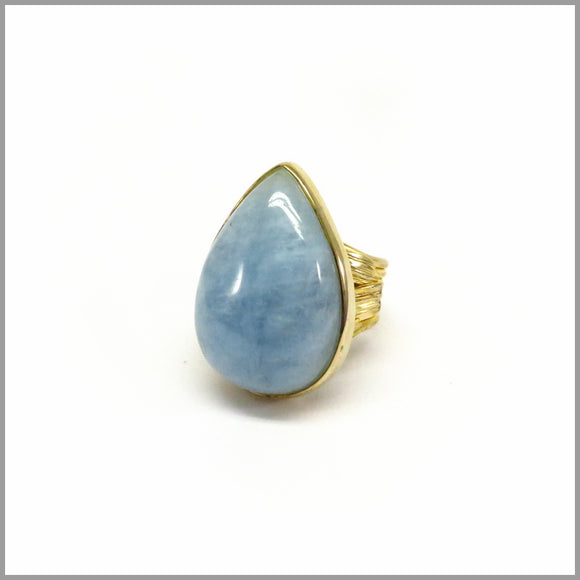 AD1.17 Aquamarine Gold Plated Ring