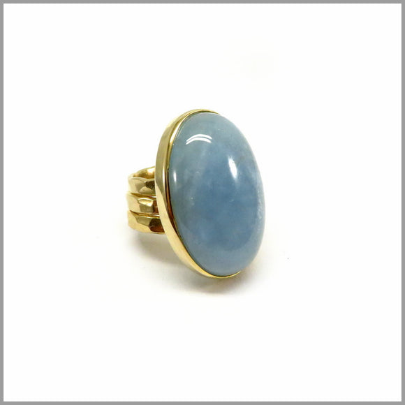 AD1.18 Aquamarine Gold Plated Ring