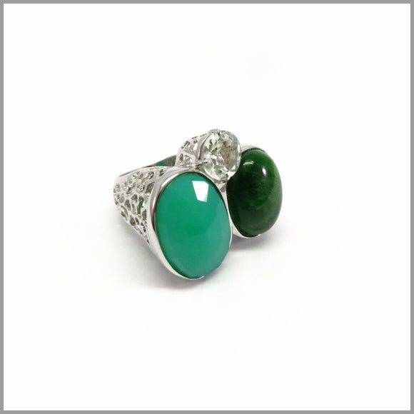 AD1.20 Chrysoprase, Amethyst & Diopside Silver Ring