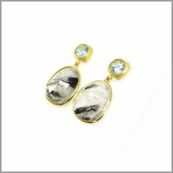 AD3.15 Blue Topaz & Rutilated Quartz, Gold Earrings