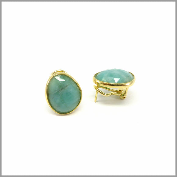 AD3.18 Cloudy Emerald Gold Earrings
