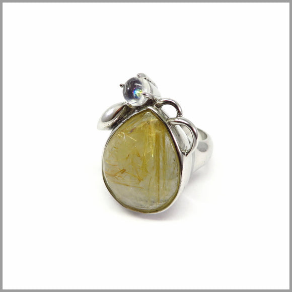 AD3.44 Rutilated Quartz & Moonstone Silver Ring