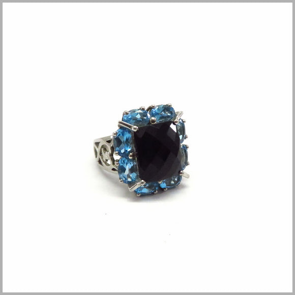 AK1 Black Spinel & Blue Topaz Ring