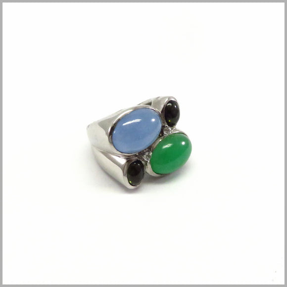AK2.72 Green Jade, Blue Jade & Tourmaline Silver Ring
