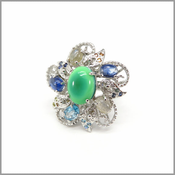 ASJ1.10 Flower Chrysoprase, Blue Topaz, Kyanite & Moonstone Silver Ring