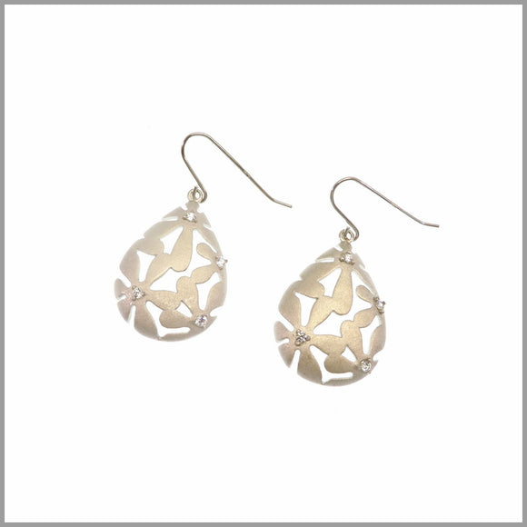 CH7.12 Flower & Cubic Zirconia Gold Earrings