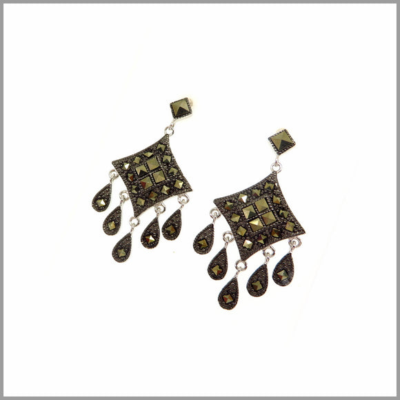 CH7.30 Marcasite Chandelier Silver Earrings