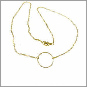 CH7.40 Gold Plated Sterling Silver Circle Pendant Necklace