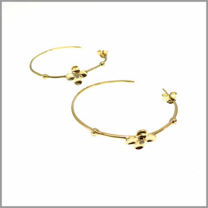 CH7.4 Gold Plated Sterling Silver Flower with Cubic Zirconia, Hoop Earrings