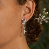 FM15.2 Silver Butterfly & Cubic Zirconia Chandelier Earrings