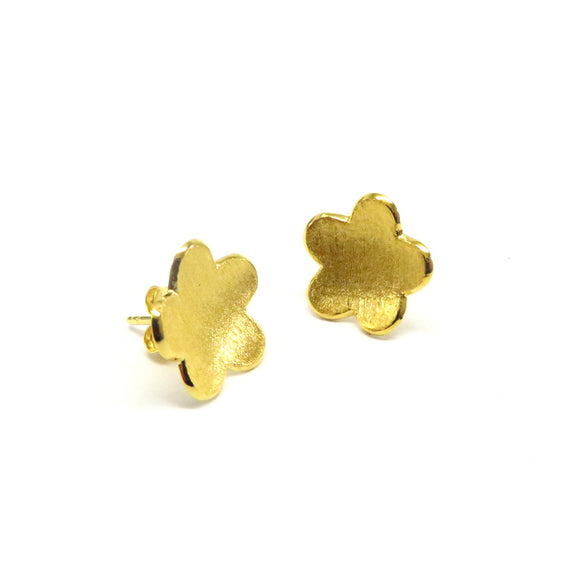 FM22.27 Gold Plated Sterling Silver Flower Stud Earrings